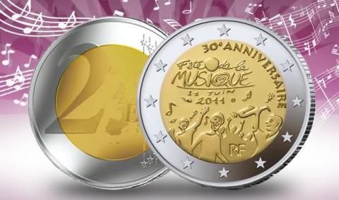 Emisión de los 2 Euro Conmemorativos Francia 2011 Fête de la Musica