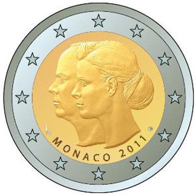 2 Euro Conmemorativos Monaco 2011 Boda del príncipe Alberto y Charlene