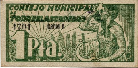 Billete local 1 Peseta de Torreblascopedro 1937