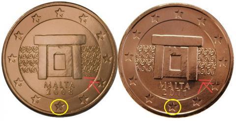 Cambios en el diseño de los Euros Malta 2011