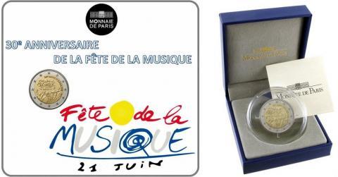 Carteras francesas 2 Euro conmemorativos Fête de la musique
