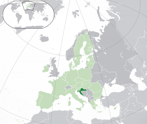 Mapa de Croacia en Europa