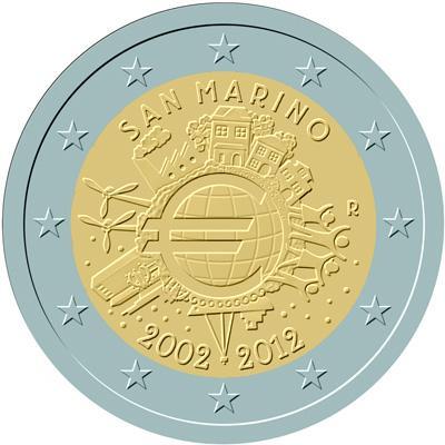 2 Euro conmemorativos San Marino 2012