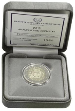 Box Chipre 2012  2 Euro conmemorativos 10 Años de la circulación del Euro