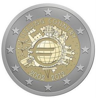 2 Euro conmemorativos 2012 10 Años de la circulación de Monedas y Billetes Euro