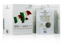 CoinCard Italia FDC 2011 2 Euro 150 años de la unificación italiana