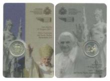Blister 2 Euro normales San Marino 2011 conmemorativo de la visita Pastoral Papa