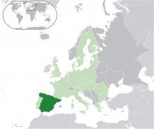 Mapa de España en Europa