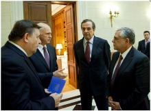 Reunión de los líderes políticos griegos